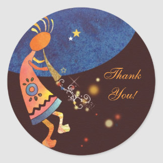 Flute Playing Kokopelli Thank You Classic Round Sticker