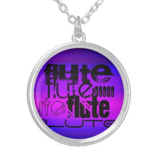Flute; Vibrant Violet Blue and Magenta Round Pendant Necklace