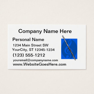 Flute with Blue Treble Clef Background Business Card