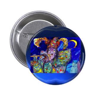 FLUTIST IN BLUE / Venetian Carnival Night 6 Cm Round Badge
