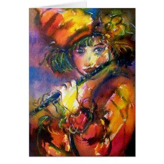 FLUTIST PORTRAIT / Venetian Masquerade Greeting Card