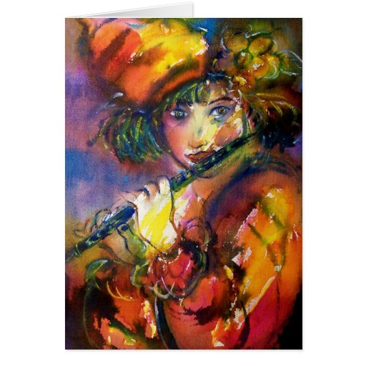 FLUTIST / Venetian Masquerade Greeting Card