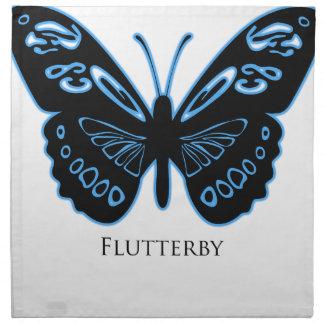 Flutterby Black Blue Glow Napkin