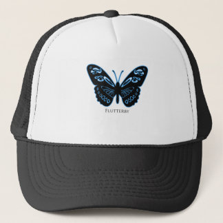 Flutterby Black Blue Glow Trucker Hat