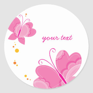 FLUTTERBY BUTTERFLIES :: series of three 1 Classic Round Sticker