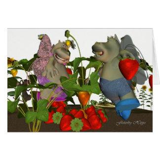 Flutterby Hippo, little fairy hippo folk, in straw Card