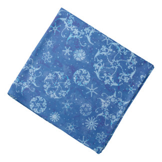 Flutterby Winter Blue Snowflakes Bandana