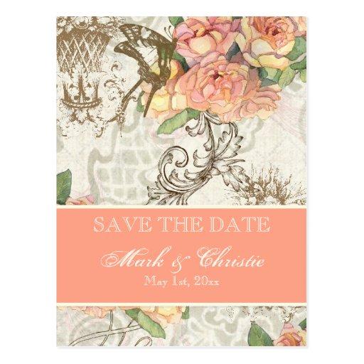 Flutterbyes 'n Roses Elegant Save The Date Card Postcards