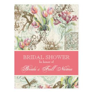 Flutterbyes n Tulip Elegant Bridal Shower Postcard