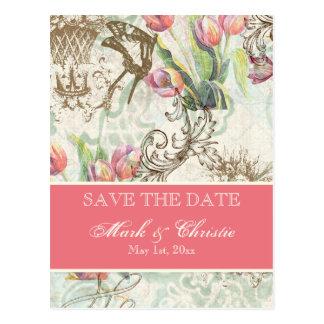 Flutterbyes 'n Tulips Elegant Save The Date Card Postcard