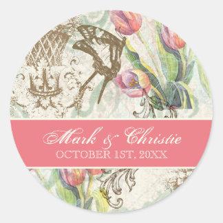 Flutterbyes 'n Tulips Elegant Wedding Stickers