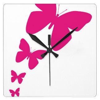 Fluttering Butterflies Square Wall Clock