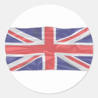Fluttering Silk Union Jack Round Sticker