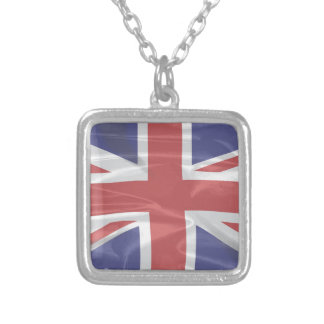 Fluttering Silk Union Jack Silver Plated Necklace