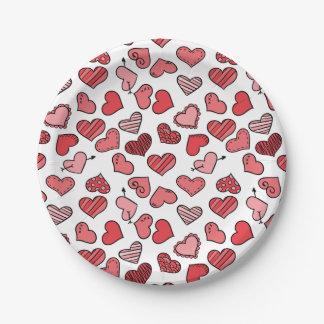 Fluttering simple Valentine hearts pattern Paper Plate