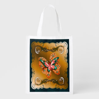 Flutterings Butterfly Bordered Grocery Bag