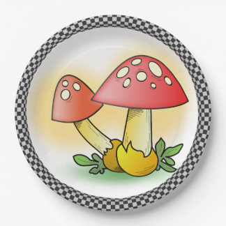 Fly Amanita Muscaria Mushrooms Paper Plate