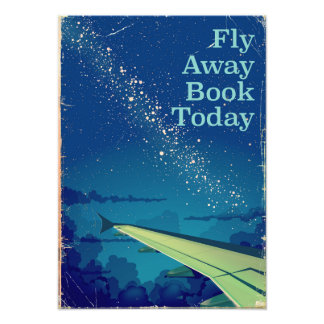 Fly Away Book Today vintage flight poster Art Photo