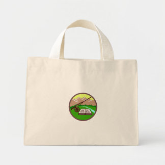 Fly Box Rod Mountains Circle Retro Mini Tote Bag
