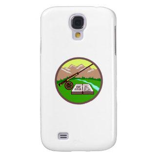 Fly Box Rod Mountains Circle Retro Samsung Galaxy S4 Cover