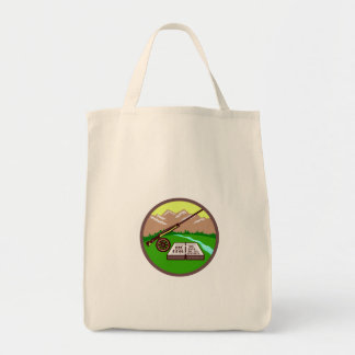 Fly Box Rod Mountains Circle Retro Tote Bag