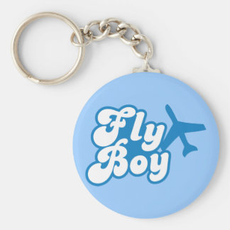 FLY BOY with aeroplane jet Basic Round Button Key Ring
