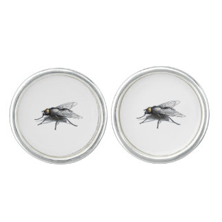Fly Buddy round cufflinks