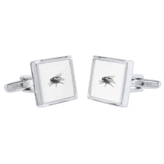 Fly Buddy square cufflinks Silver Finish Cuff Links