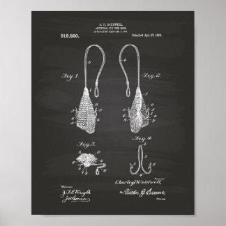 Fly Fish Hook 1909 Patent Art  Chalkboard Poster
