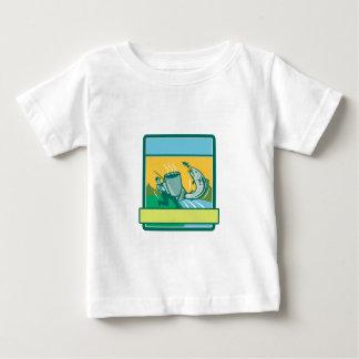 Fly Fisherman Catching Salmon Mug Rectangle Retro Baby T-Shirt