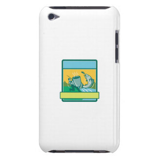 Fly Fisherman Catching Salmon Mug Rectangle Retro iPod Case-Mate Case