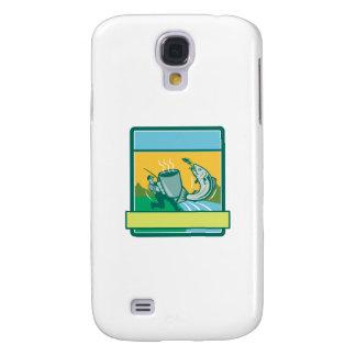 Fly Fisherman Catching Salmon Mug Rectangle Retro Samsung Galaxy S4 Cases