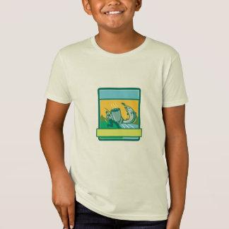 Fly Fisherman Catching Salmon Mug Rectangle Retro T-Shirt