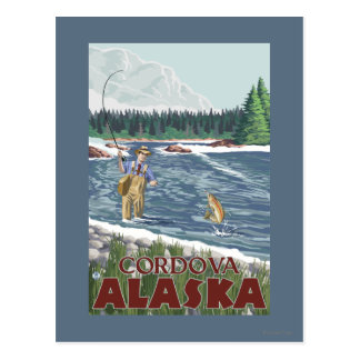 Fly Fisherman - Cordova, Alaska Postcard