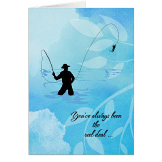 """Fly Fisherman"" Happy Birthday Card"