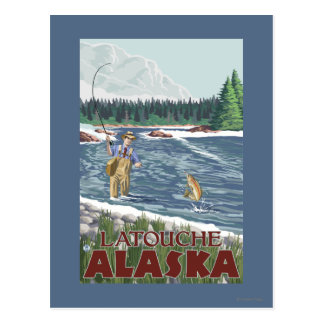 Fly Fisherman - Latouche, Alaska Postcard