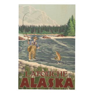 Fly Fisherman - Latouche, Alaska Wood Prints
