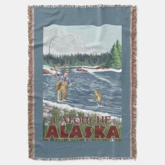 Fly Fisherman - Latouche, Alaska Throw Blanket