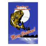 Fly Fisherman on boat catching largemouth bass Card