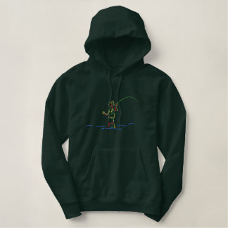 Fly-fisherman Outline Embroidered Hooded Sweatshirts