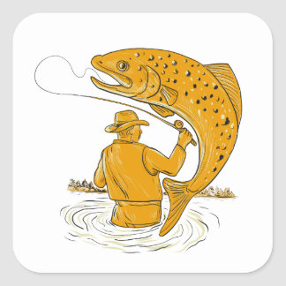 Fly Fisherman Reeling Trout Drawing Square Sticker