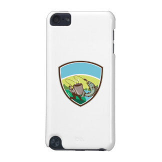 Fly Fisherman Salmon Mug Crest Retro iPod Touch (5th Generation) Cases