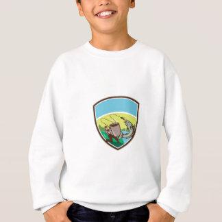 Fly Fisherman Salmon Mug Crest Retro Sweatshirt