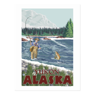 Fly Fisherman - Yukon, Alaska Postcard
