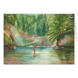 Fly Fishing 80th Birthday Day Card