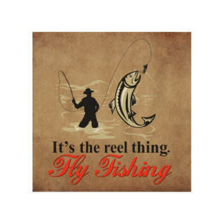 "Fly Fishing 8""x8"" Wood Wall Art"