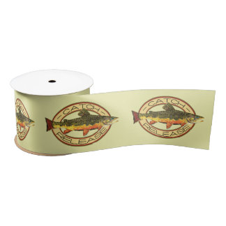 Fly Fishing Catch Release Party Satin Ribbon