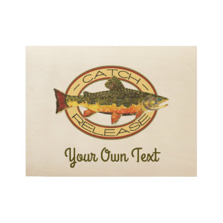 Fly Fishing Catch Release Party Wood Poster