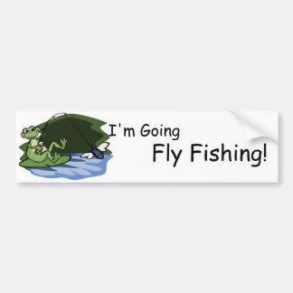 Fly Fishing Frog Bumper Sticker