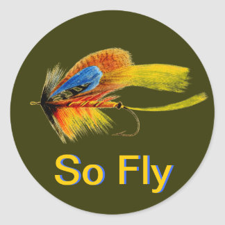 Fly Fishing Lure - So Fly Classic Round Sticker